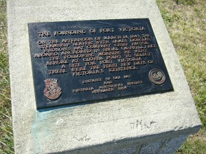 """The Founding of Fort Victoria"" plaque on Beach Drive, opposite the foot of Oliver Street, Oak Bay. Placed by the District of Oak Bay and the Victoria Historical Society, November 1994."