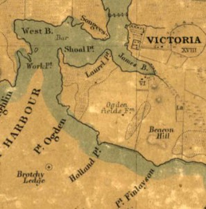 Detail, South Eastern districts of Vancouver Island, from a trigonometrical survey made by order of the Honble Hudsons Bay Company. Map by Joseph Despard Pemberton, published by John Arrowsmith, London, 1855.