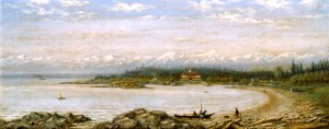 View of Hotel Mount Baker, Oak Bay, BC. Painting by Edward Scrope Shrapnel, ca. 1894. BC Archives PDP04375. Used by kind permission, Royal British Columbia Museum Corporation.