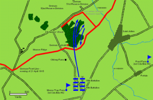 Map Battle of Kitchers Wood 1915