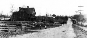 Oak Bay Avenue, looking west across what is now the Oak Bay Village, with the Oak Bay tram, built 1891, at right and the Burrell family residence Summerdyne at left. Photo courtesy Oak Bay Archives.