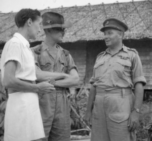 After the surrender ceremony at Kuching, Brig T.C. Eastick, Commanding Kuching Force, 9 Aust Division, accompanied by Lt-Col A. T. Walsh, CO 2/10 Field Regiment, 8 Aust Division (a Prisoner of War) and Col T. Suga, Commandant of all Prisoner of War Camps in Borneo, visited the Prisoner of War and Internee Camp of Kuching, where a parade was held at which the Prisoners of War were informed of their liberation. Shown, Mrs Agnes Newton-Keith (1), author of the novel Land Below the Kind [sic - Wind] speaking with Maj T. T. Johnson, 2/6 Field Park Company (2) and Brig Eastwick [sic] (3). Note: Mrs Keith later wrote a book on her period of captivity called Three Came Home. Australian War Memorial #116941 https://www.awm.gov.au/collection/116941/