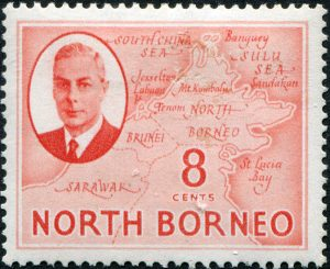 Borneo N map on 8 c stamp
